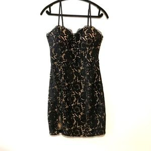 Revamped Lace Mini Dress Black Size Medium